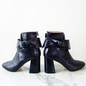 ZARA Navy Leather High Heel Ankle Boot with Bow